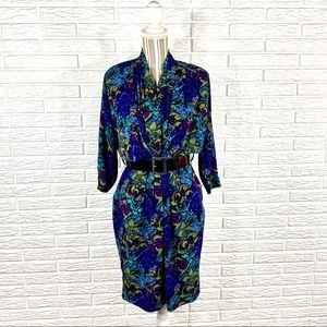Vintage 80s Tess Dress Patterned Midi Wiggle Dress